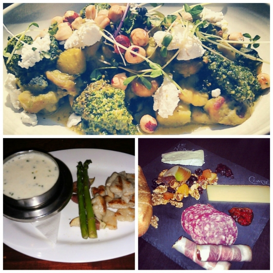 Clockwise from top: Under the High Wheel's gnocchi, The Cavern's cheese and charcuterie board for two and Select's gnocchi fondue.