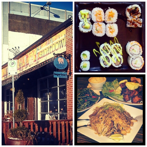 Clockwise from left: Sugarbowl's exterior, Watari's maki rolls, and Tropika's pad Thai, sambal bunchies and home style chicken.