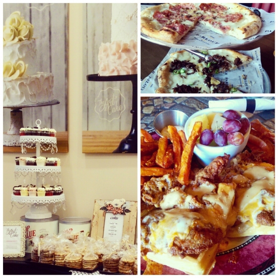 Clockwise from left: The Art of Cake's mini cupcakes and cookies, The Parlour's truffle and short rib pizzas, and Absolutely Edibles' waffles with the works.