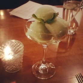 The day's sorbet - green apple.