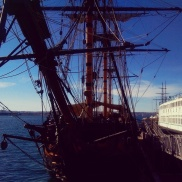 A tall ship along the waterfront near Little Italy.