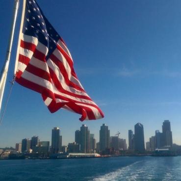 Leaving the San Diego skyline behind.