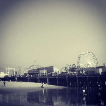 A view of Santa Monica Pier from the beach.