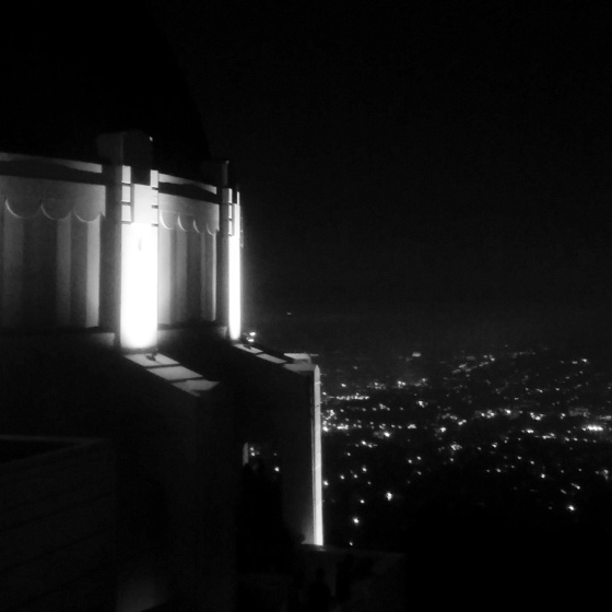 A night view of L.A. from the roof of the Griffith Observatory.