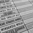 The draft menu at Karl Strauss Brewing Company.