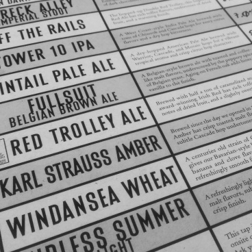 The draft menu at Karl Strauss Brewing Company.