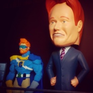 Conan statues greet us as we enter the studio!