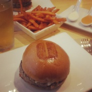 Truffle burger and sweet potato fries from Umami Burger at The Grove.