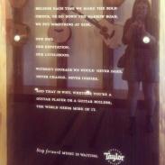 An inspirational sign at the Taylor Guitars factory.