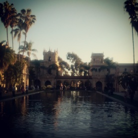 A view from one end of the botanical garden pond in Balboa Park.
