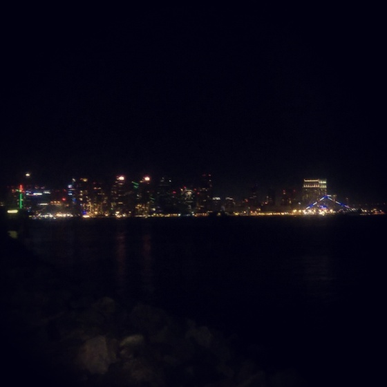 The view of the San Diego skyline at night from Harbor Island.