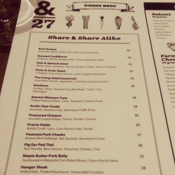 A portion of the & 27 menu.