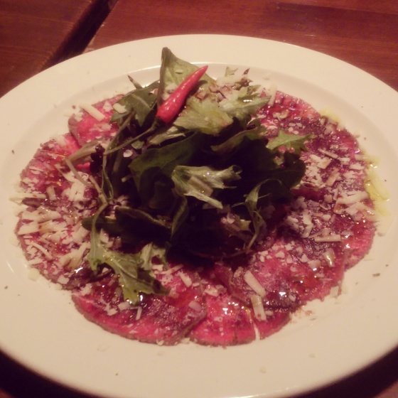 The beef carpaccio that we shared as an appetizer.