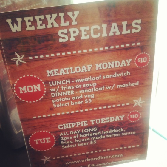 Weekly specials advertised in the restaurant.