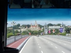 The bus driving up to Sentosa, an island resort in Singapore