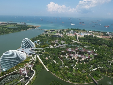 An aerial view of the Gardens at the Bay from the top of the Marina Bay Sands hotel