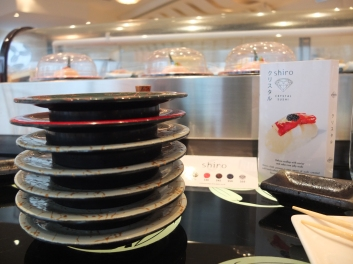 Midday sushi snack at Shiro in Hysan Place. Our stack of plates isn't that bad!