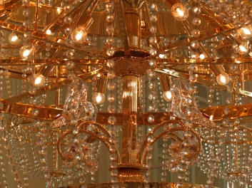 A chandelier inside the Hong Kong Disneyland Hotel. Look closely to find a surprise!