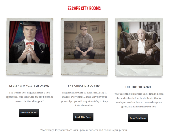 The scenarios at Escape City. Each game can take up to 6 players at $25 each. Image: Courtesy of Escape City.