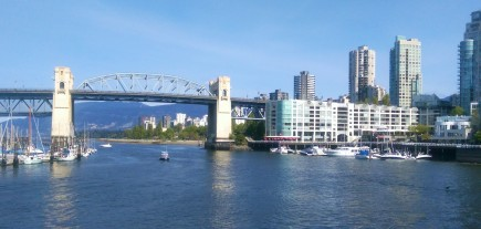 Sitting on the pier at Granville Island, taking in the view.