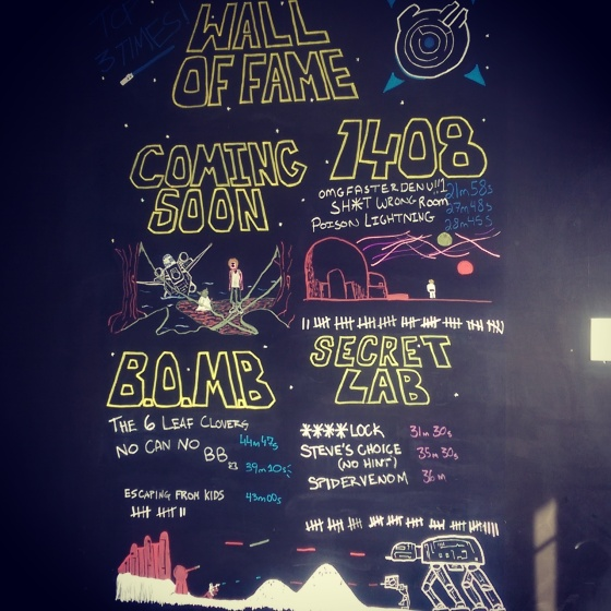 The Wall of Fame at Breakout. As you can see, B.O.M.B., is quite difficult (also fairly new at the time).