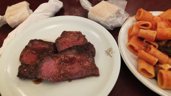 Steak and pasta for lunch at Cipriani La