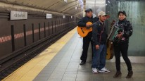 Musicians waiting for the train