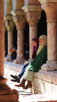 People from the medieval festival taking in The Cloisters