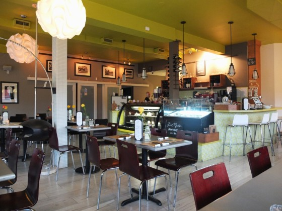 The spacious interior of Tiramisu Bistro.