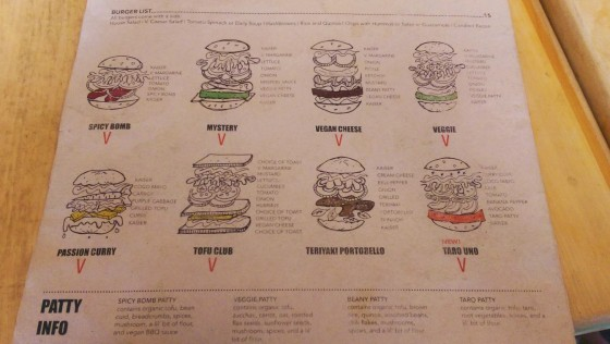 The previous Burger menu at Cafe Mosaics. I think they've refined this as well.