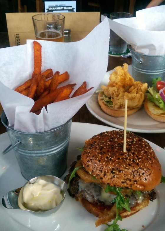 The Brooklyn Burger with sweet potato fries.