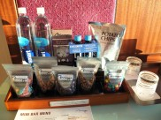 A portion of the minibar in our room