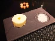 Butter with an edible petal and sea salt