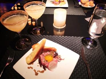 Wagyu beef tartar and cocktails