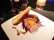 A close-up of the wagyu beef tartar