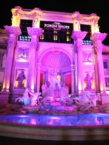 Walking past the fountain outside the Caesars Palace Forum Shops