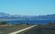 On the drive to the Grand Canyon; Lake Mead straight ahead