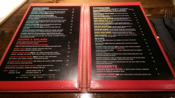 The latest version of their menu.