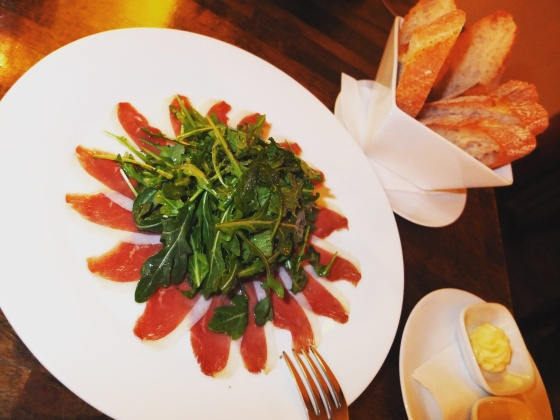 Smoked Duck Carpaccio with bread and butter