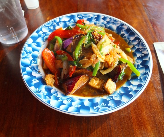 A bowl of the spicy eggplant with tofu.