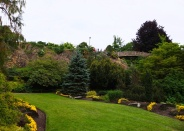 The pretty landscaping in QE Park.