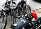 The cutest pug I've ever seen in my life. Just chilling in his side car waiting for his owner to come back.