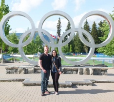 The Olympic rings. Thanks to the two girls who stopped and offered to take a photo of us.