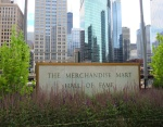 Merchandise Mart's sign and the skyline reflected.