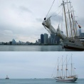 A tall ship decked out with pride flags at Navy Pier.