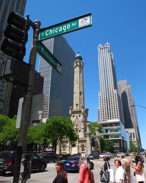 Passing by the Chicago Water Tower.