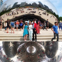 Outside and under The Bean.