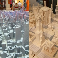 The full model of Chicago at the Architecture Foundation and lego models created at the LEGO Build Workshop.