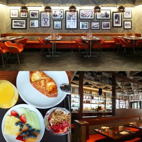 The cool interior of Dolce Italian and our continental breakfast.