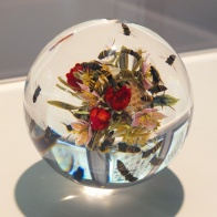 Honey Bee Swarm with Flowers and Fruit by Paul Stankard (Paperweight).